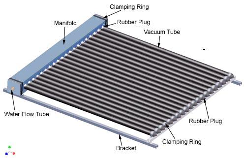 Aluminum Alloy Manifold with Heat Pipe Solar Collector